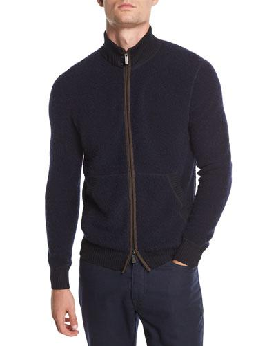 Ermenegildo Zegna Boucle Zip Bomber Sweater With Leather Detail In Navy