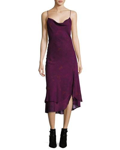 Haute Hippie Cowl-neck Sleeveless Printed Midi Dress In Purple