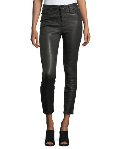 J Brand Ruby Lamb Leather Skinny-leg Pants In Black