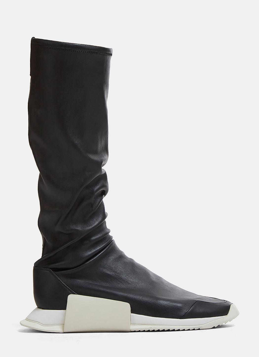 Adidas By Rick Owens Ro Runner Leather Stretch Sneaker Boots In Black
