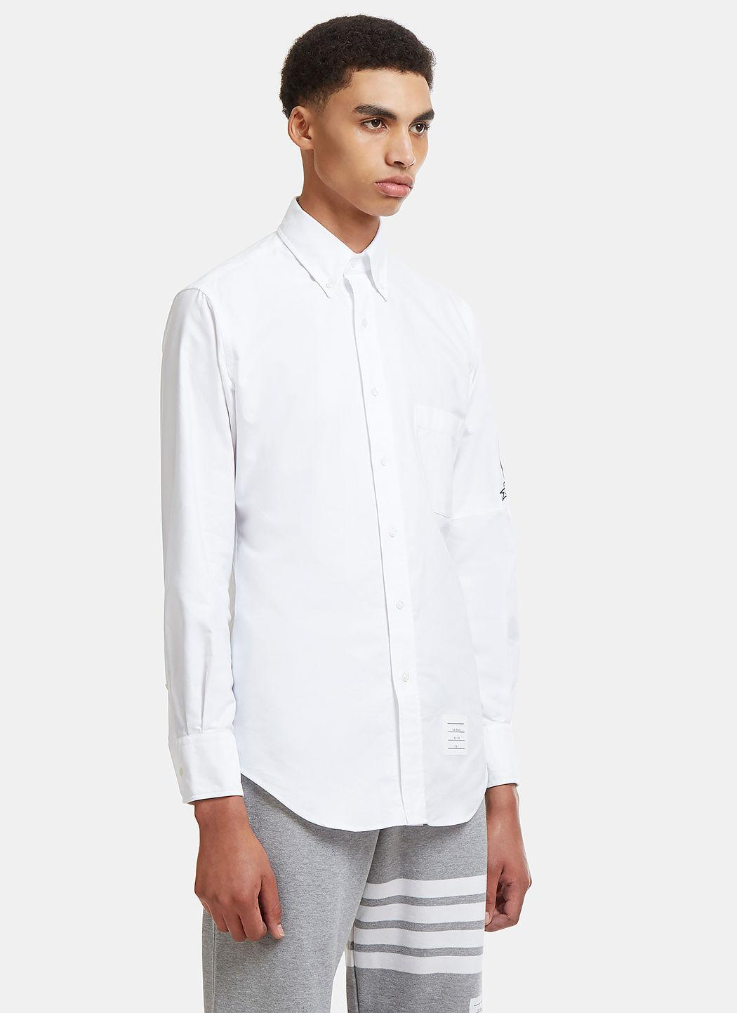 Thom Browne Armband Patch Oxford Shirt In White