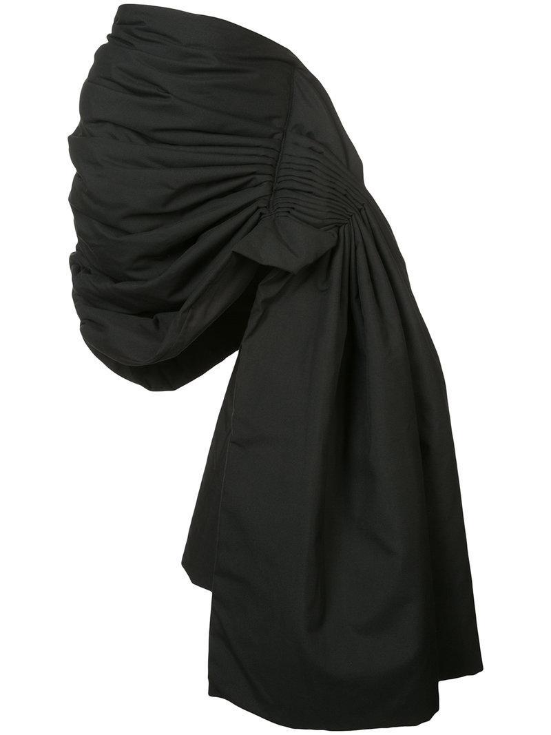 Yohji Yamamoto Gathered Asymmetric Skirt In Black