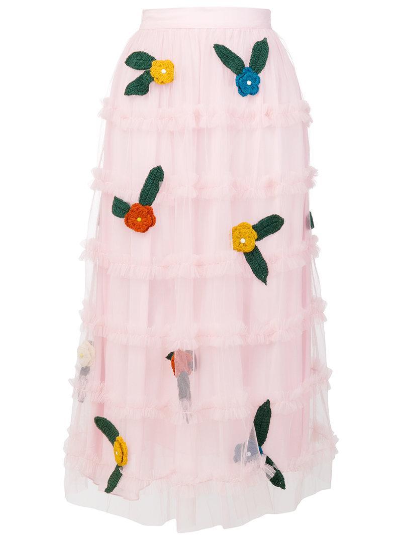 Au Jour Le Jour Tulle Ruffled Skirt In Rosa
