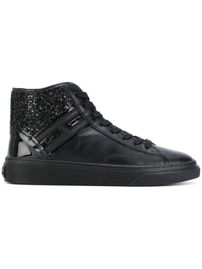 Hogan Women's Shoes High Top Leather Trainers Sneakers H342 In Black
