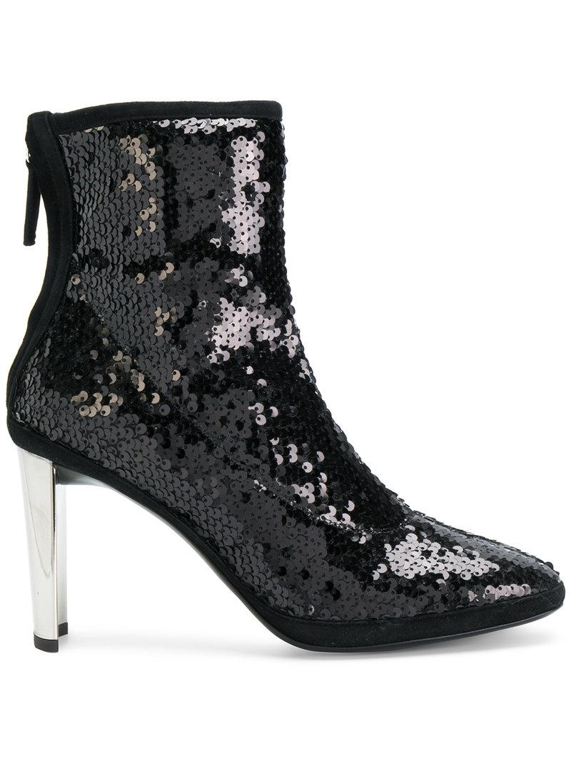 Giuseppe Zanotti Design Black Stretch Paillettes Ankle Boots With Silver Metal Heel