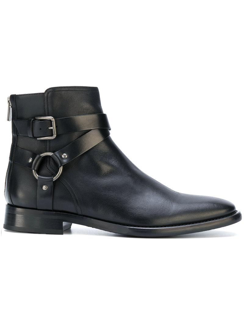 Dolce & Gabbana Leather Buckled Ankle Boots In Black