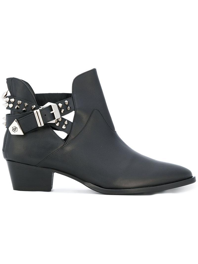 Philipp Plein Studded Buckle Strap Boots