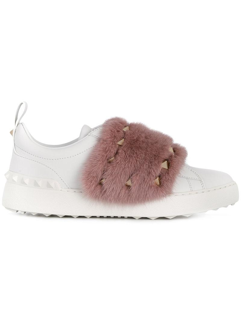 Valentino Mink Trimmed Open Sneakers In White