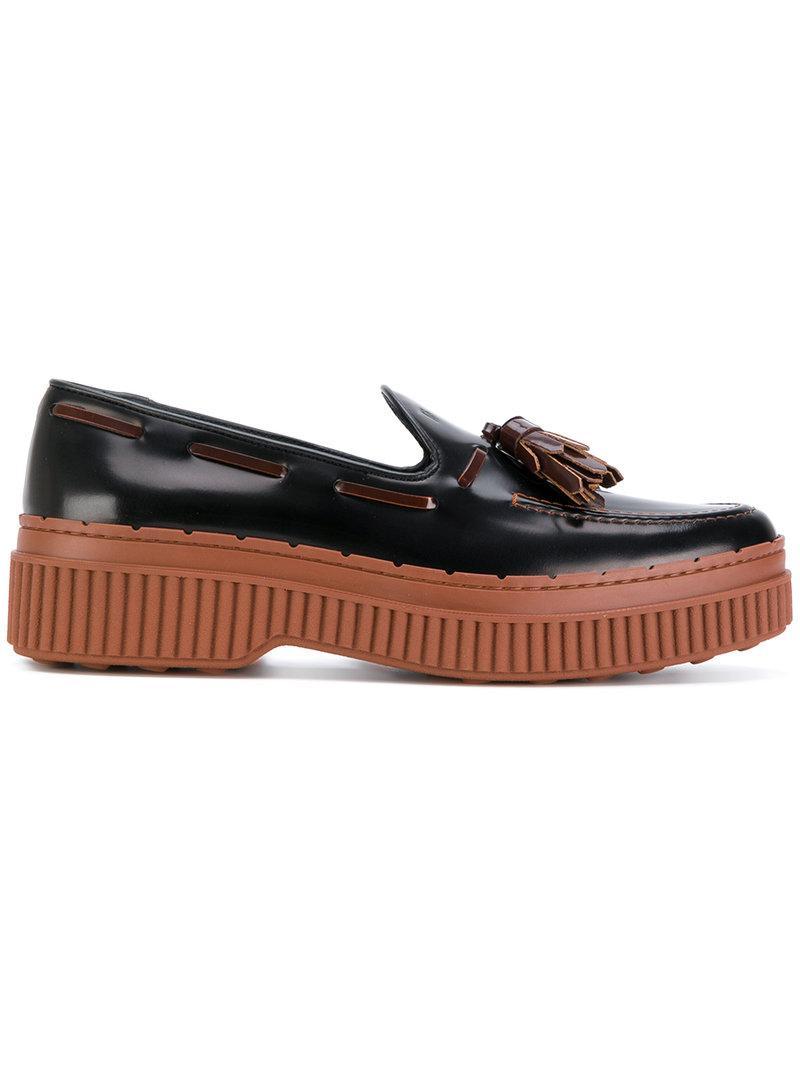 Tod's Tasselled Flatform Loafers In Black