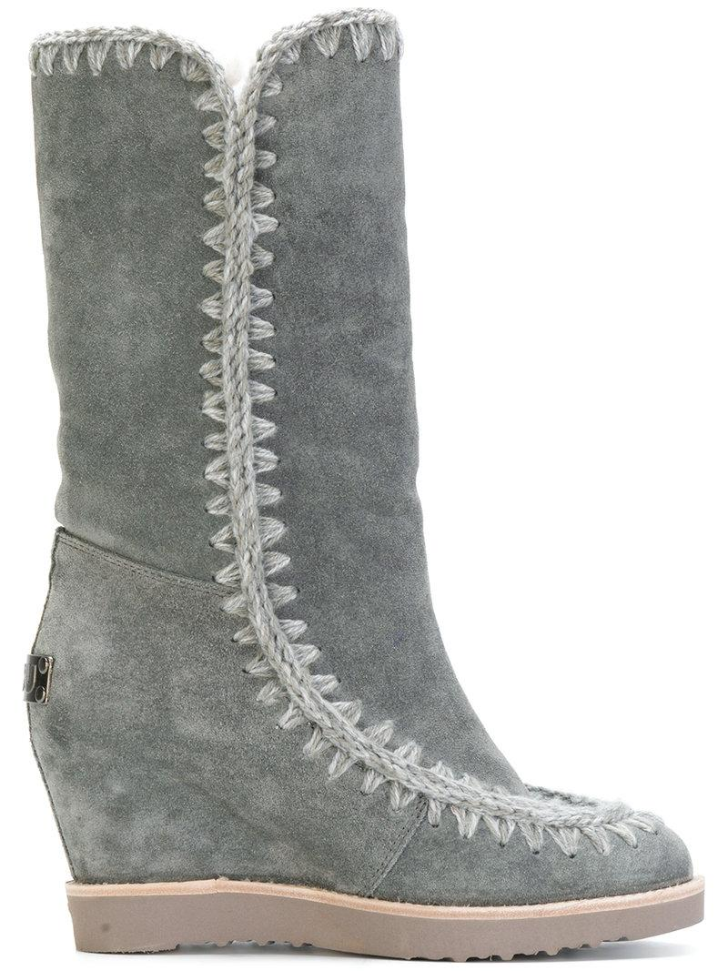 Mou Wedged Eskimo Boots - Grey