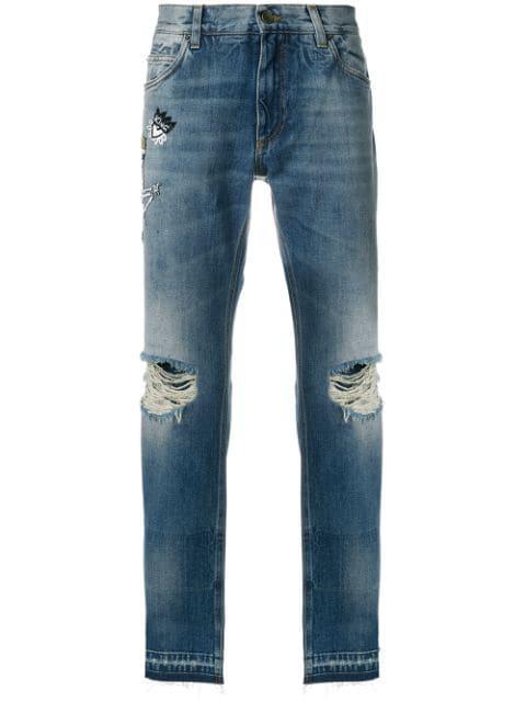 Dolce & Gabbana Skeleton King Distressed Loose Fit Jeans - Blue