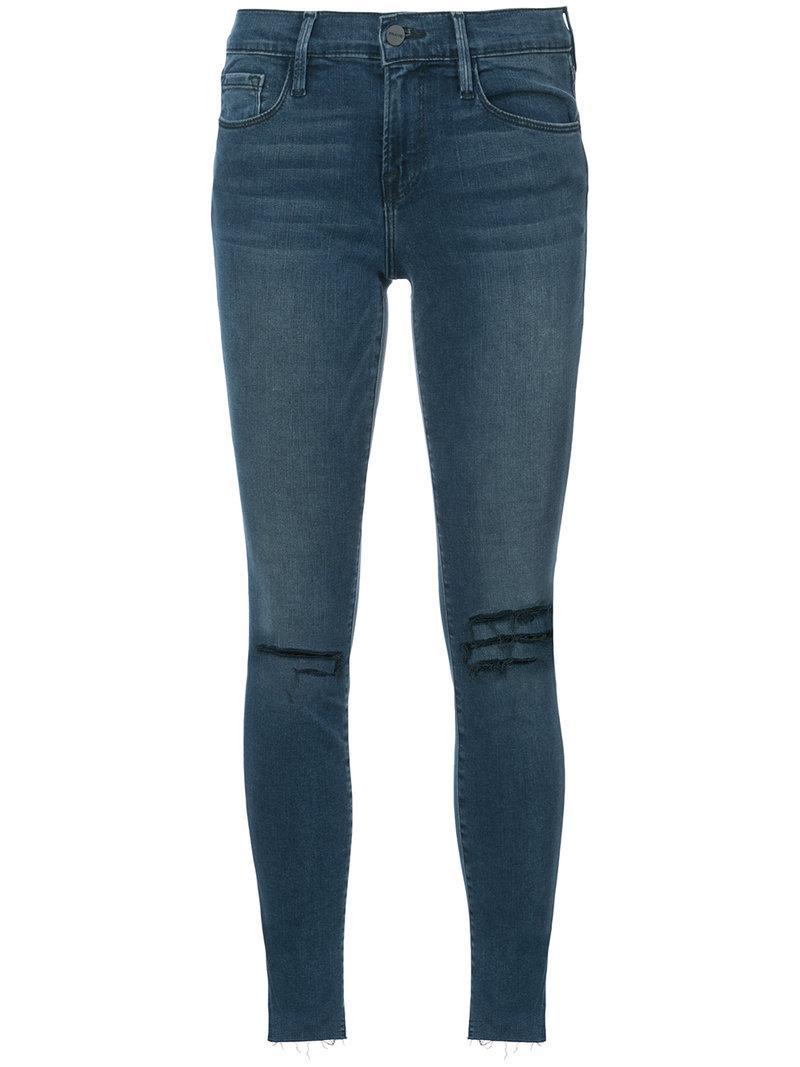 Frame Raw Edge Skinny Jeans - Blue
