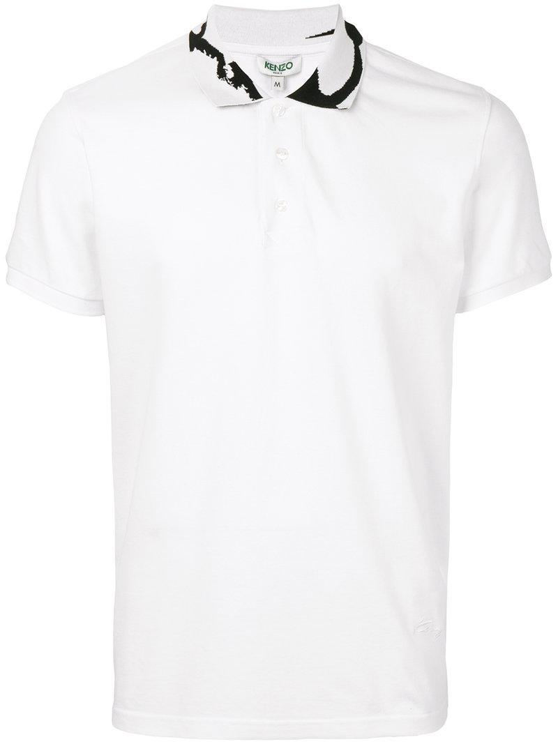 Kenzo Signature Printed Collar Polo Shirt