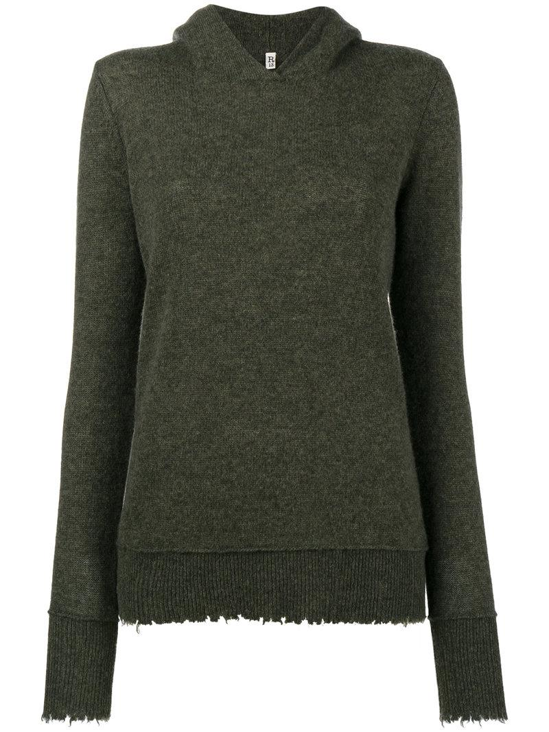R13 Oversized Cashmere Distressed Hoodie - Green