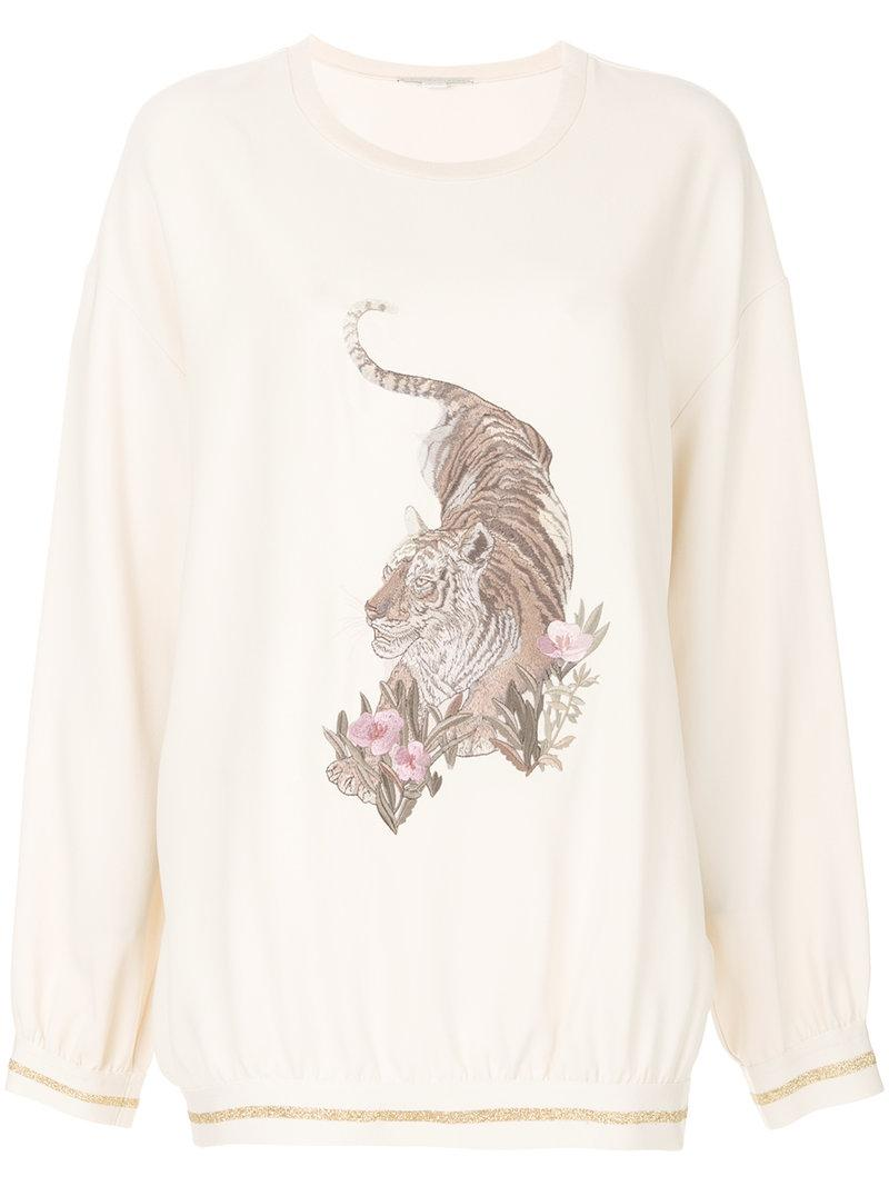 Stella Mccartney Crepe Embroidered Jumper In White
