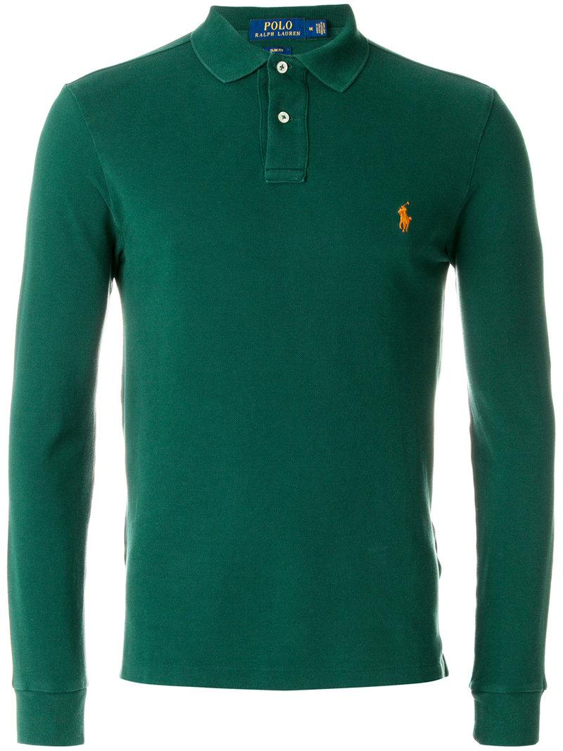 Polo Ralph Lauren Long Sleeved Polo Shirt In Green