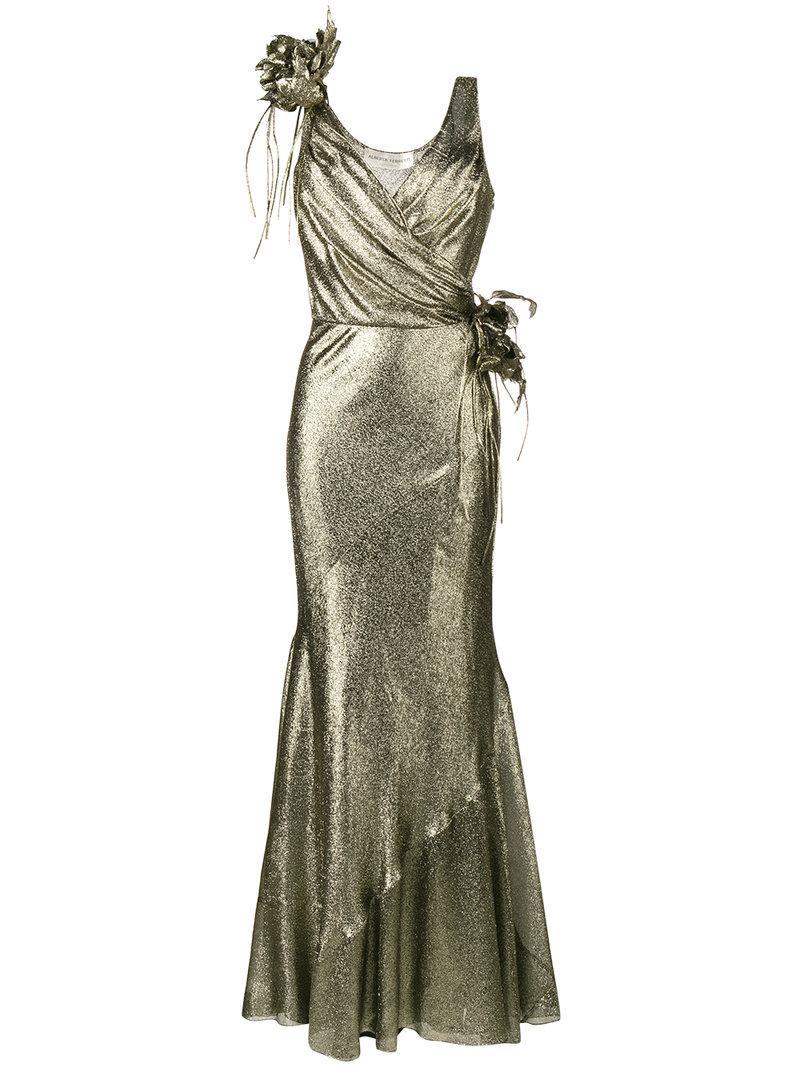 Alberta Ferretti Sleeveless Floral Embellished Gown