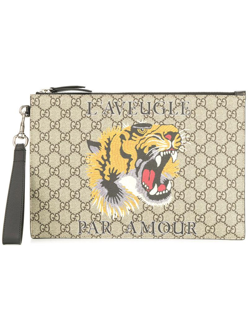 12f406c142ee2e Gucci Gg Supreme Pouch With Print - Brown   ModeSens