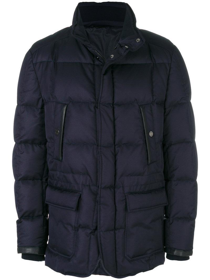Brioni Button-up Puffer Jacket - Blue