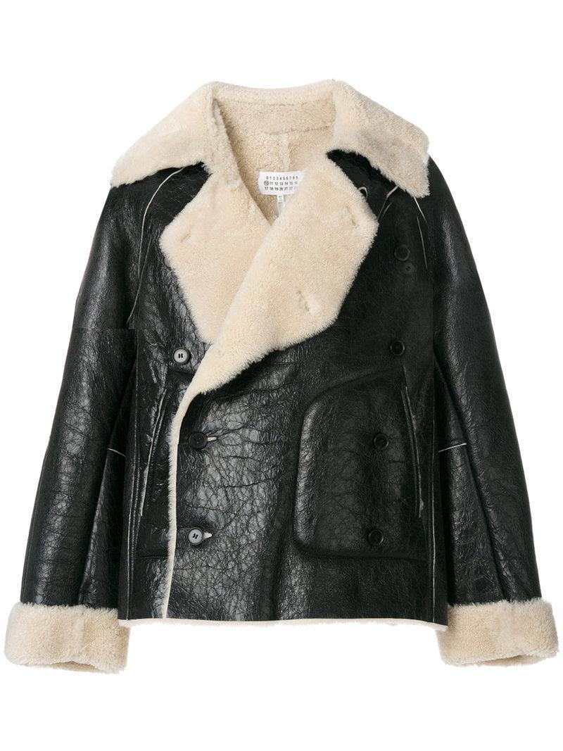 Maison Margiela Shearling Lined Biker Jacket In Black