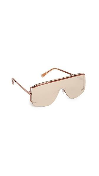 Le Specs Elysium Flat Top Sunglasses In Copper/copper Revo