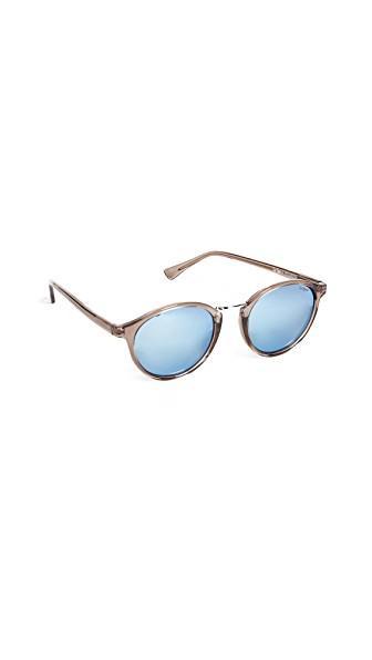 Le Specs Paradox Polarized Sunglasses In Light Pebble/blue Revo