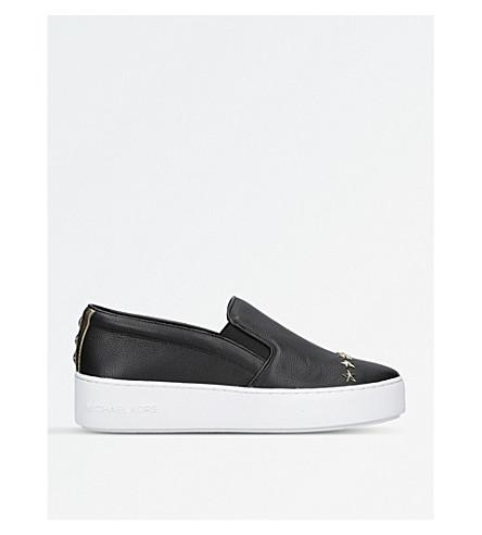 Michael Michael Kors Trent Star-embellished Leather Sneakers In Black
