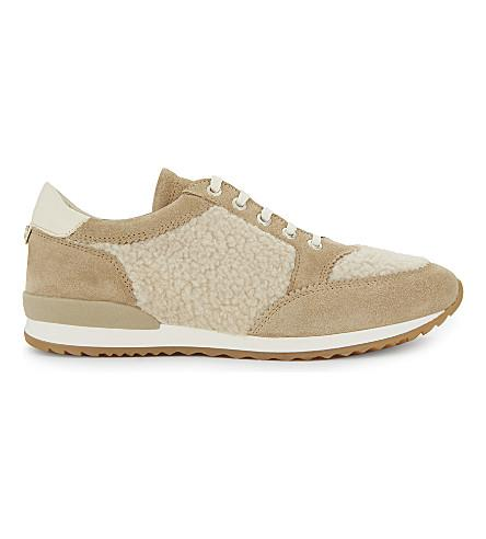 Claudie Pierlot Chaussure Shearling And Suede Sneakers In Beige
