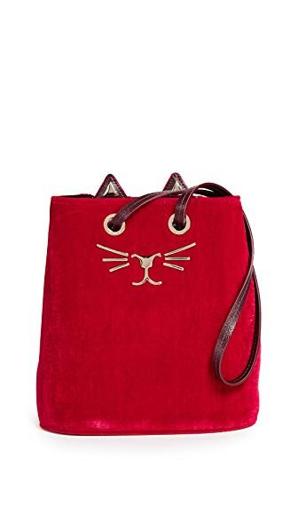 Charlotte Olympia Feline Velvet Bucket Bag In Red