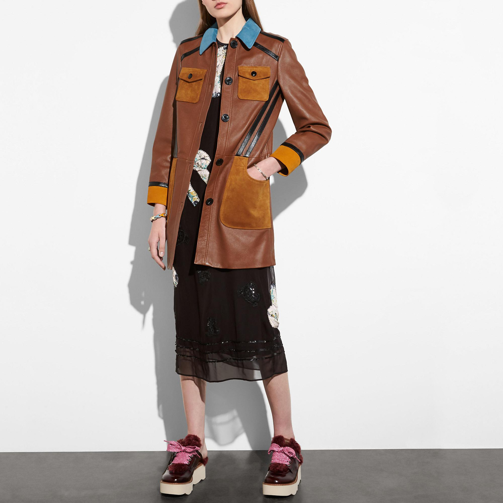 Coach Leather Coat With Suede Detail In Neutral
