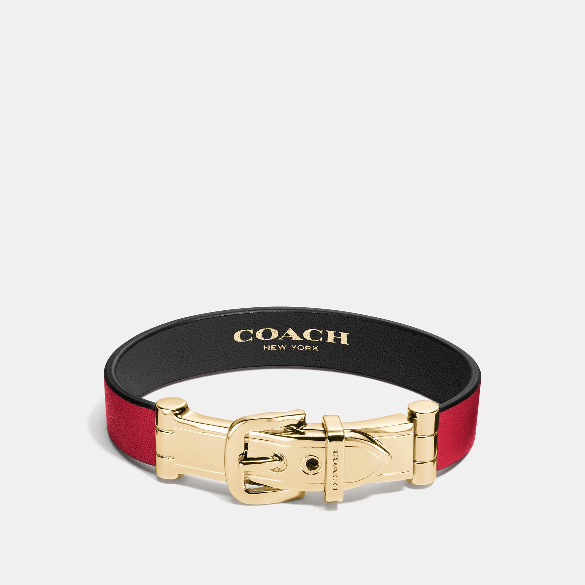 Coach Wide Two Tone Buckle Bracelet - Women's In Red/black/gold