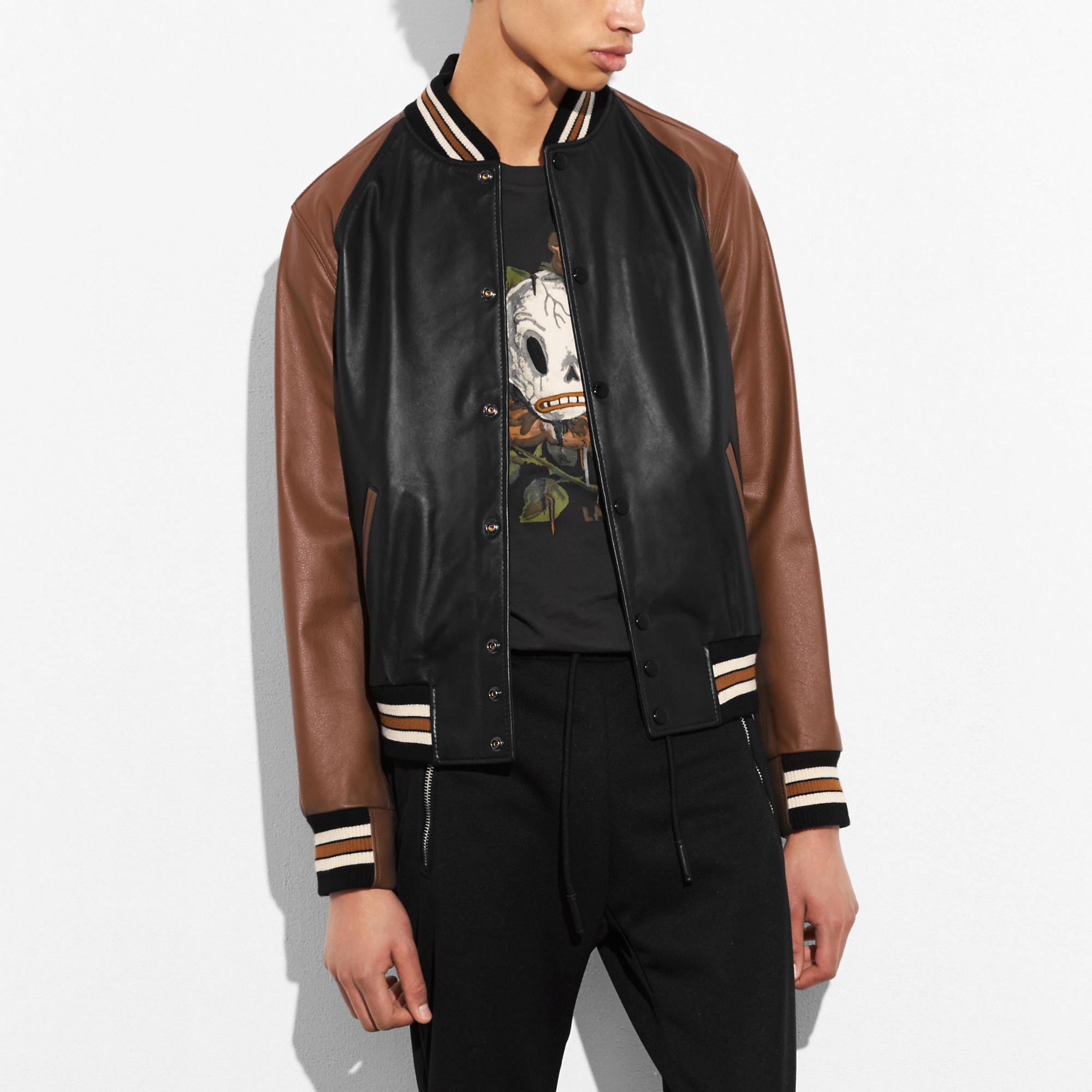 Coach Leather Varsity Jacket In Black/tan