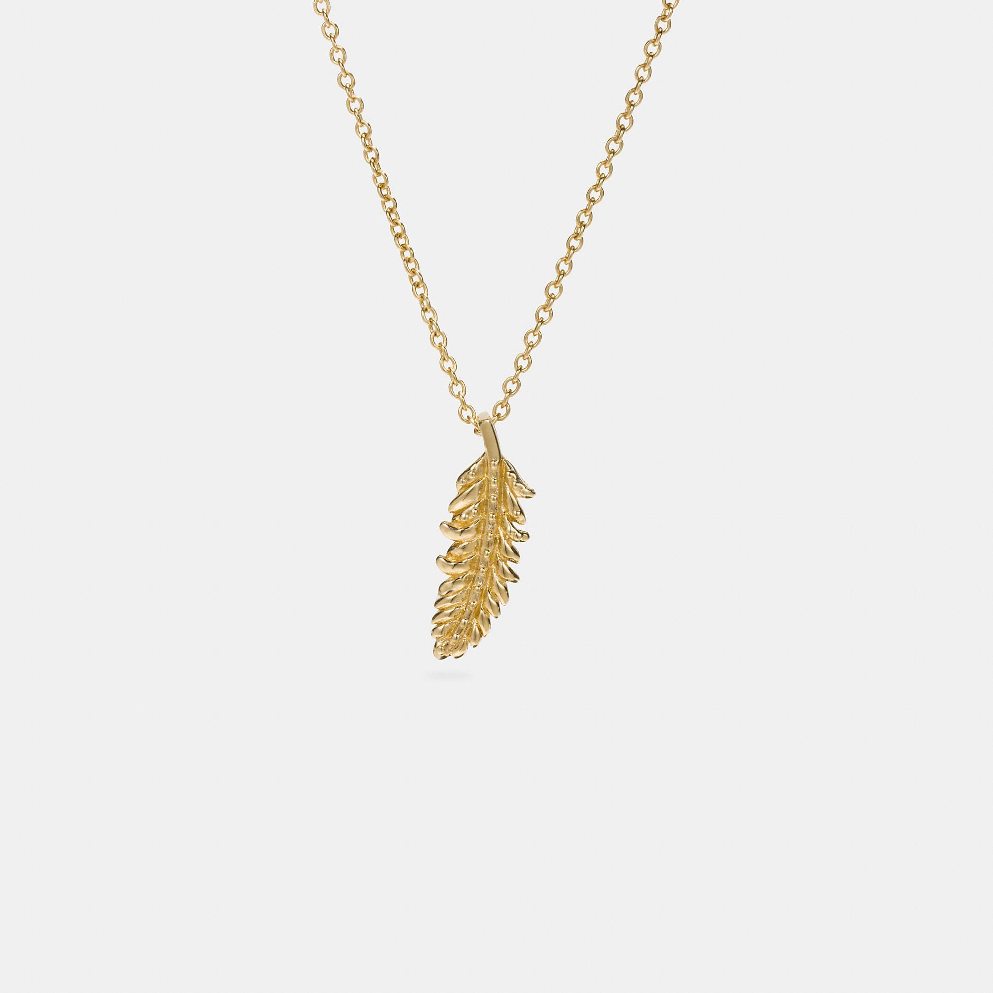 Coach Mini Demi-fine Feather Necklace In Gold