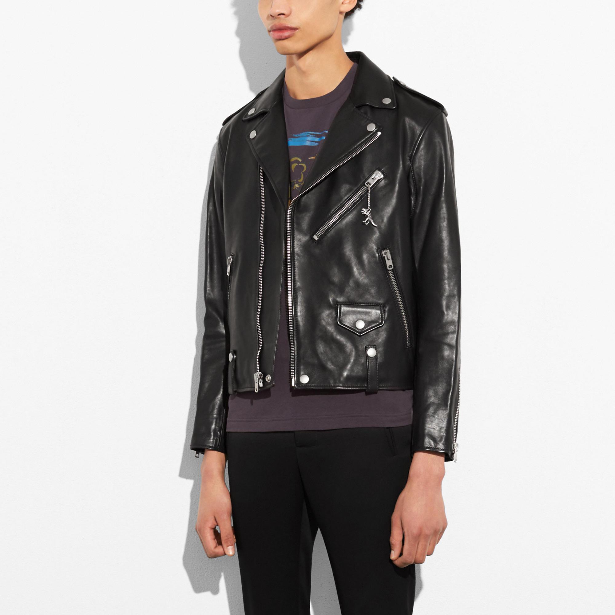 Coach Leather Moto Jacket In Black