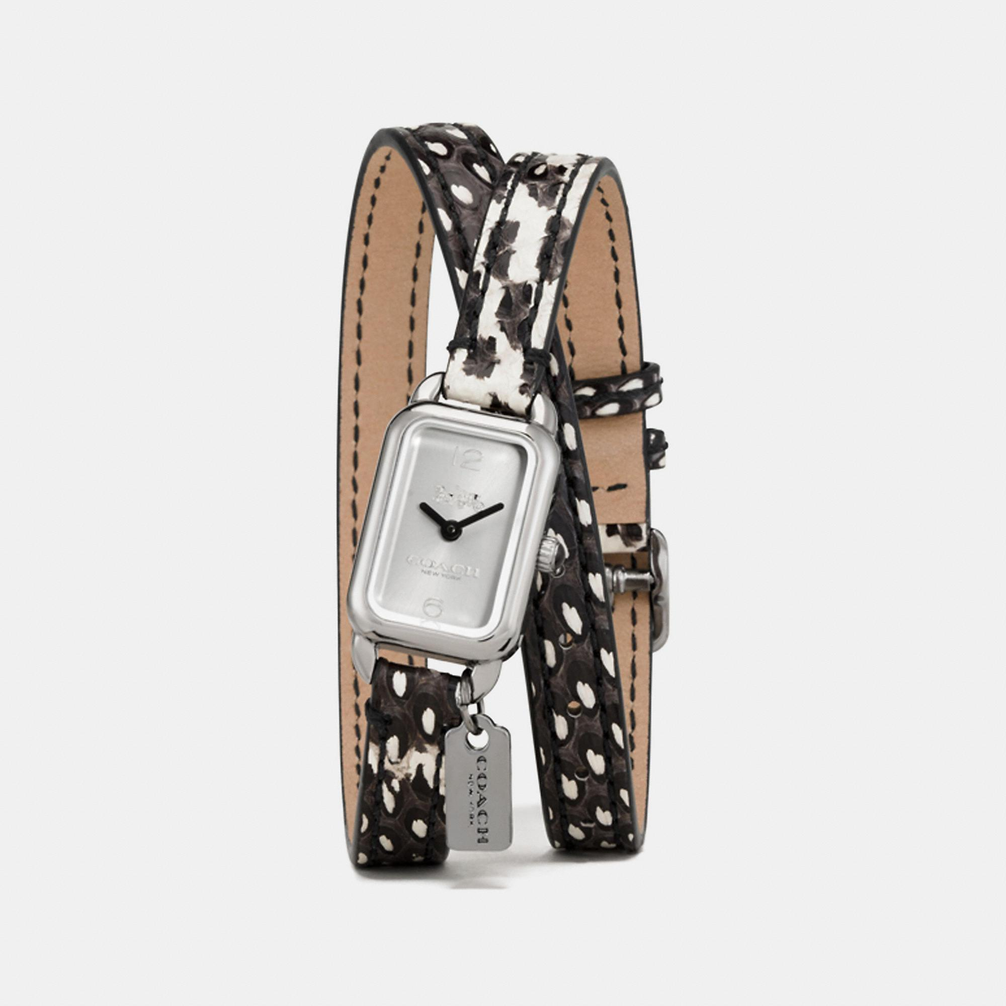 Coach Ludlow Double Wrap Watch With Charm, 17mm X 24mm - Women's In Python