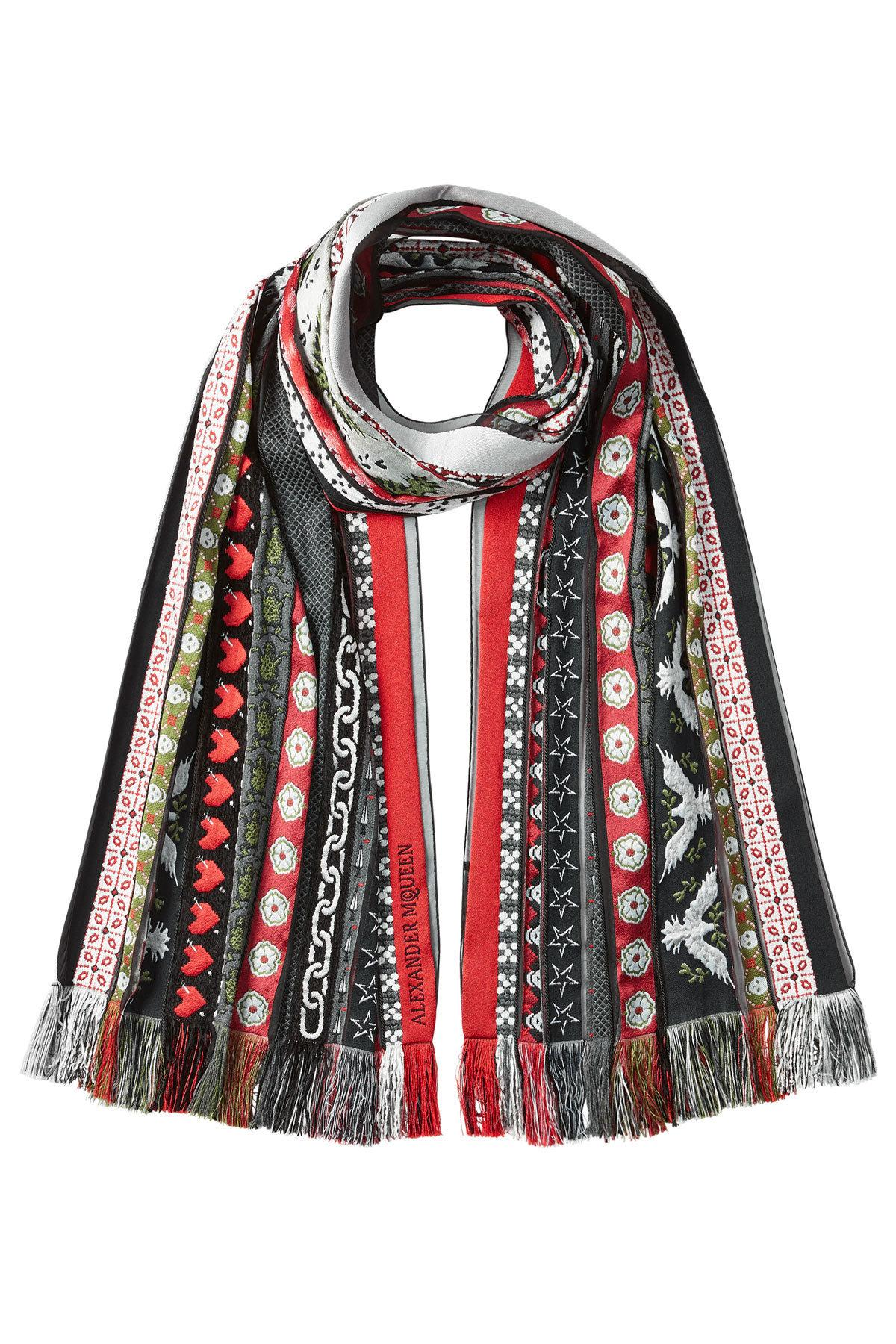 Alexander Mcqueen Woven Scarf With Wool And Silk In Multicolored