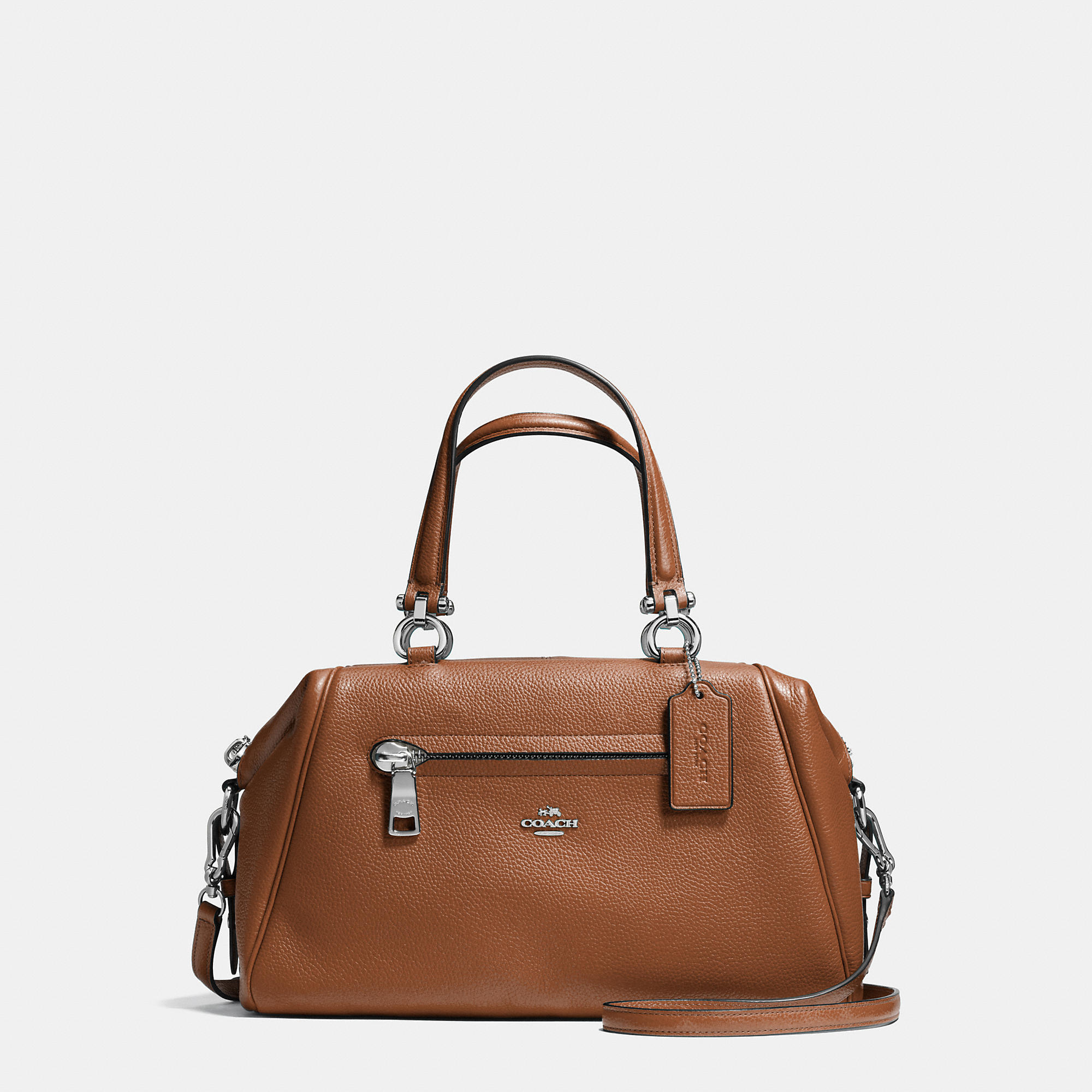 Coach Primrose Satchel In Pebble Leather In Silver/saddle