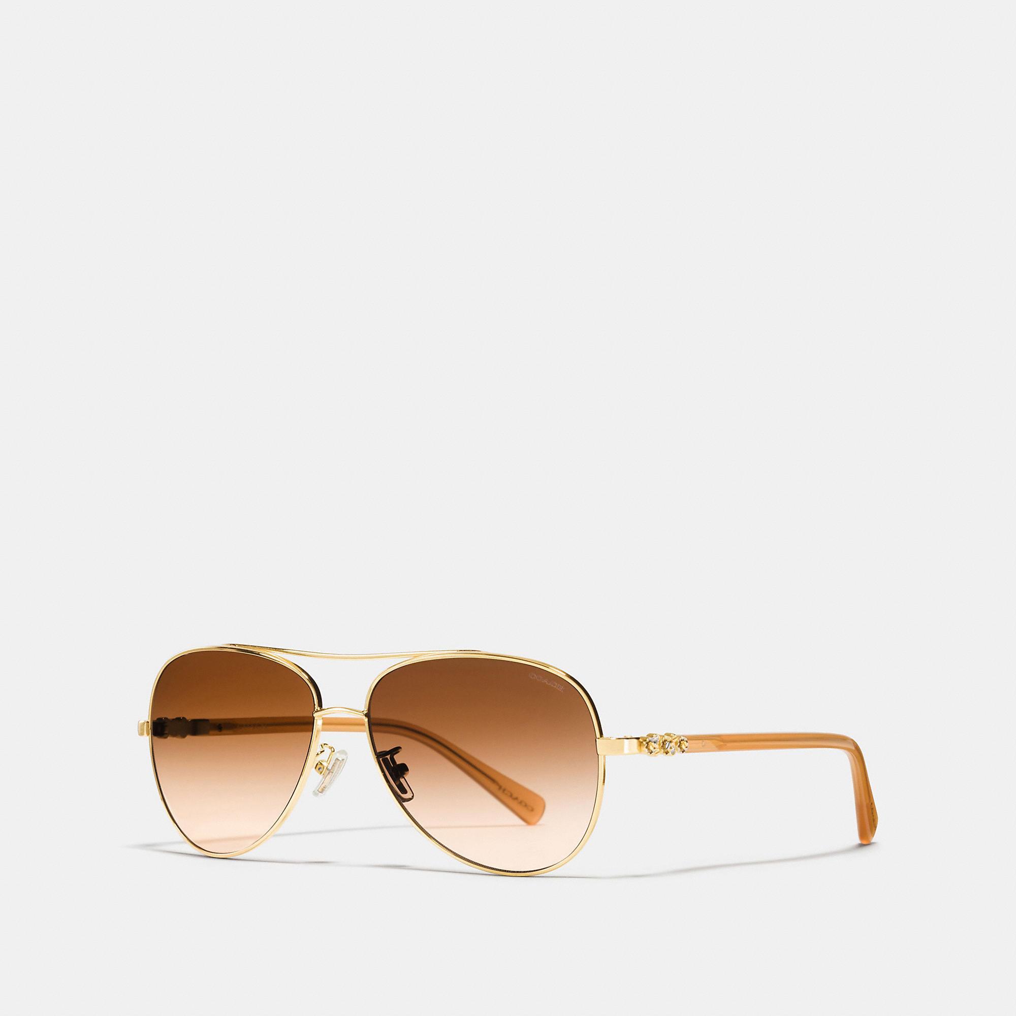 Coach Daisy Rivet Pilot Sunglasses In Gold/amber