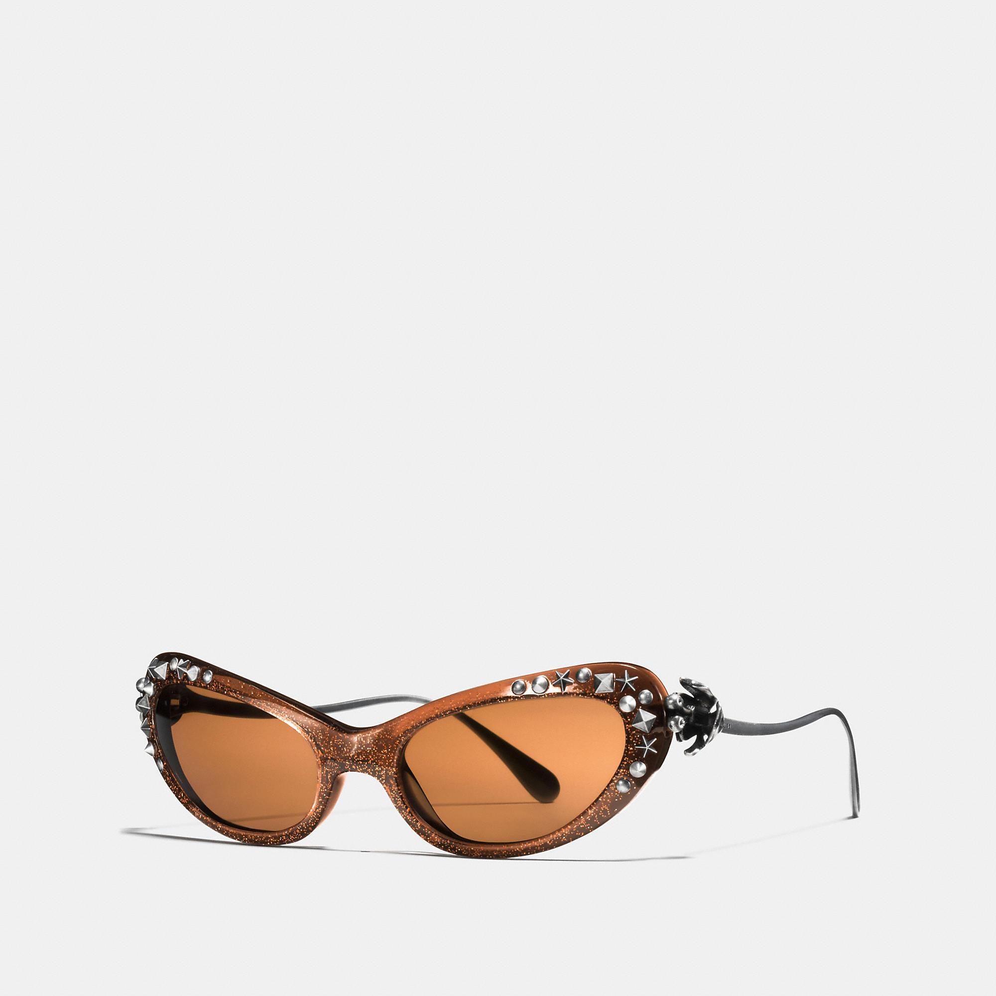 Coach Beatniks Rivets Sunglasses In Brown Glitter