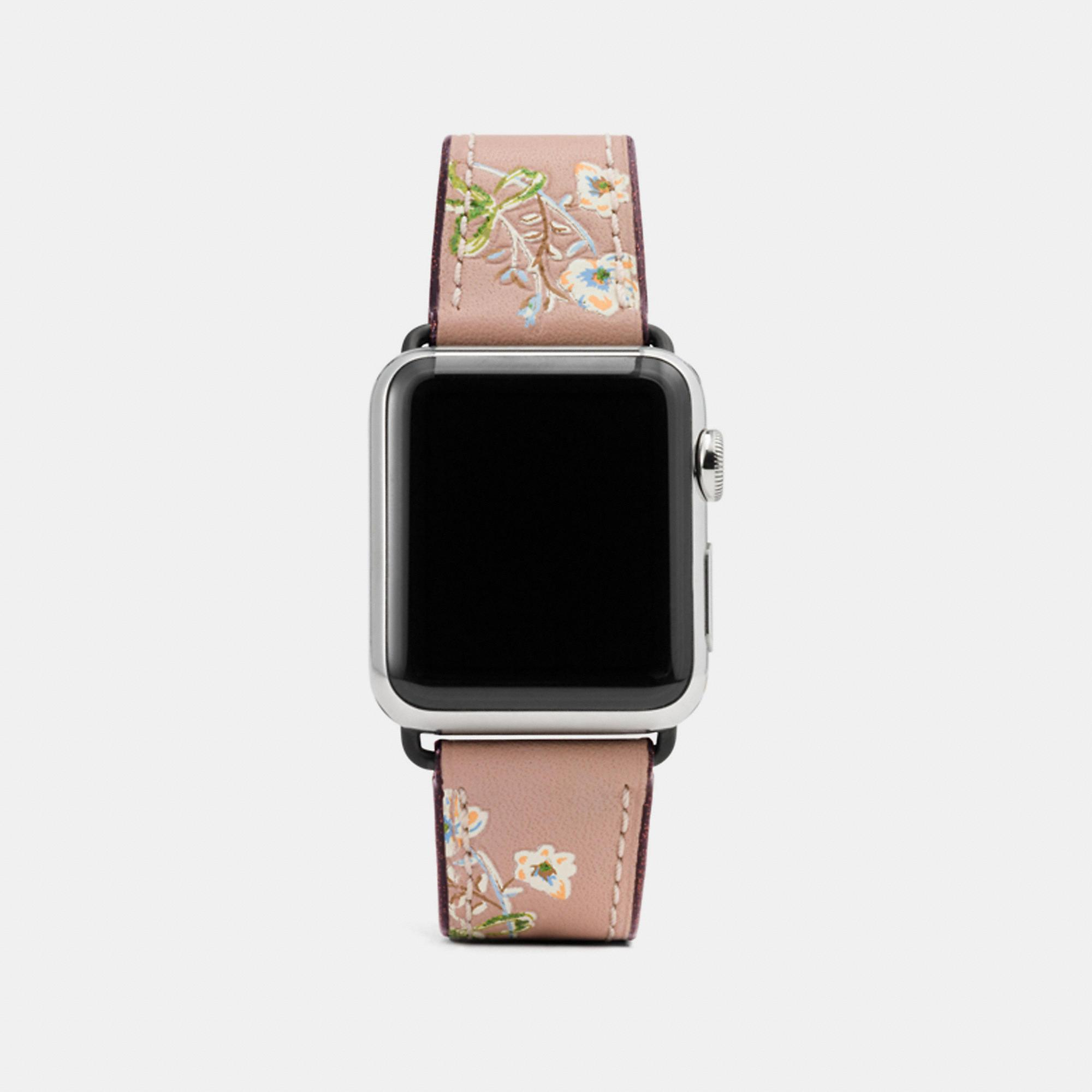Coach Apple Watch Strap With Prints In Melon Multi