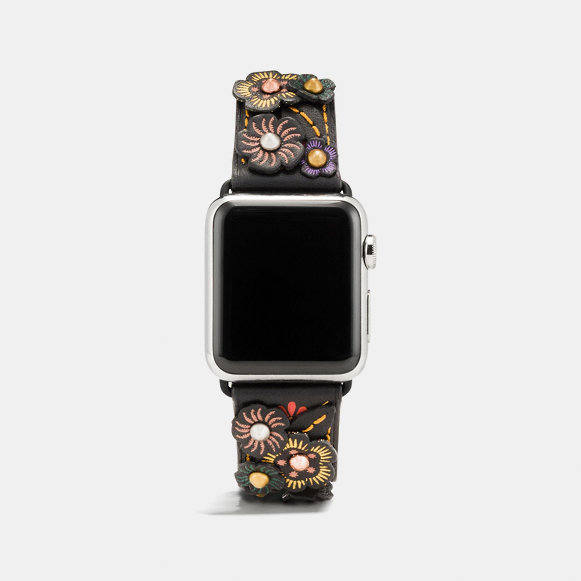 Coach Apple Watch Strap With Tea Rose In Black Multi