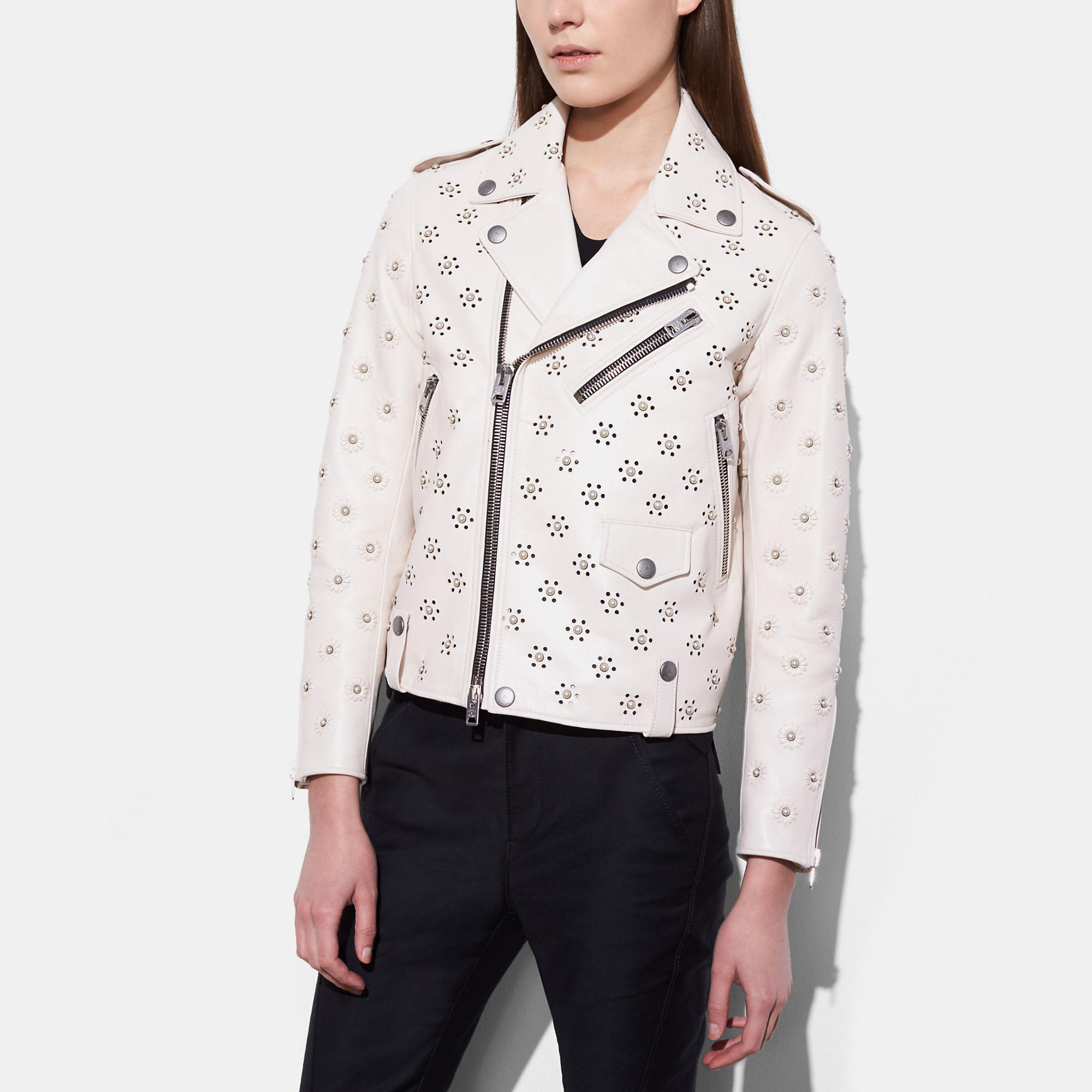 Coach Moto Jacket With Whipstich Eyelet In Chalk