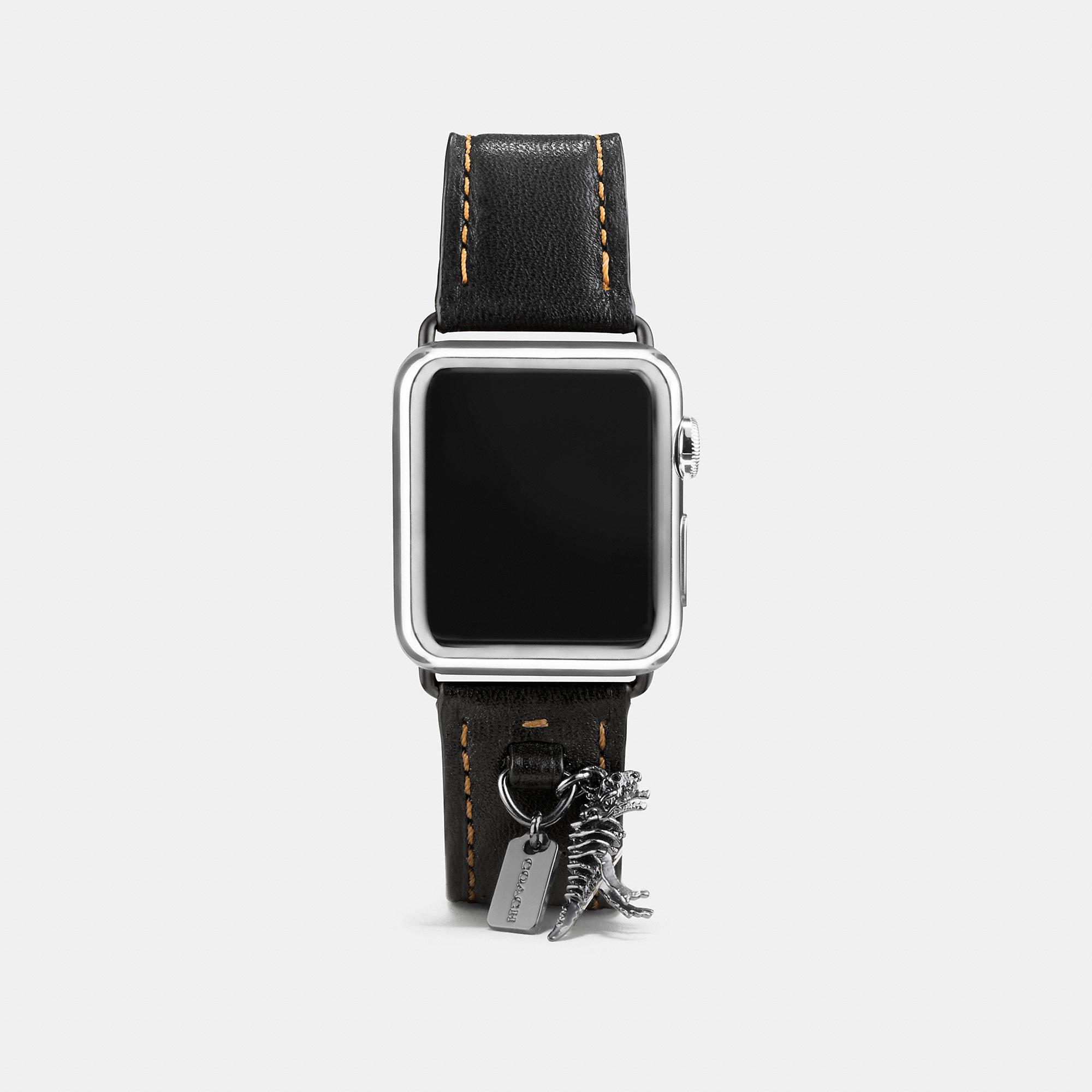Coach Apple Watch Strap With Charms In Black