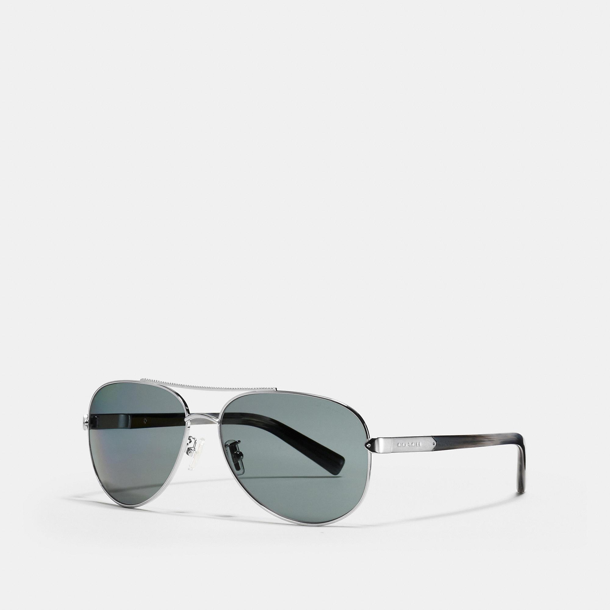 Coach Tag Temple Pilot Sunglasses In Gunmetal/grey Horn