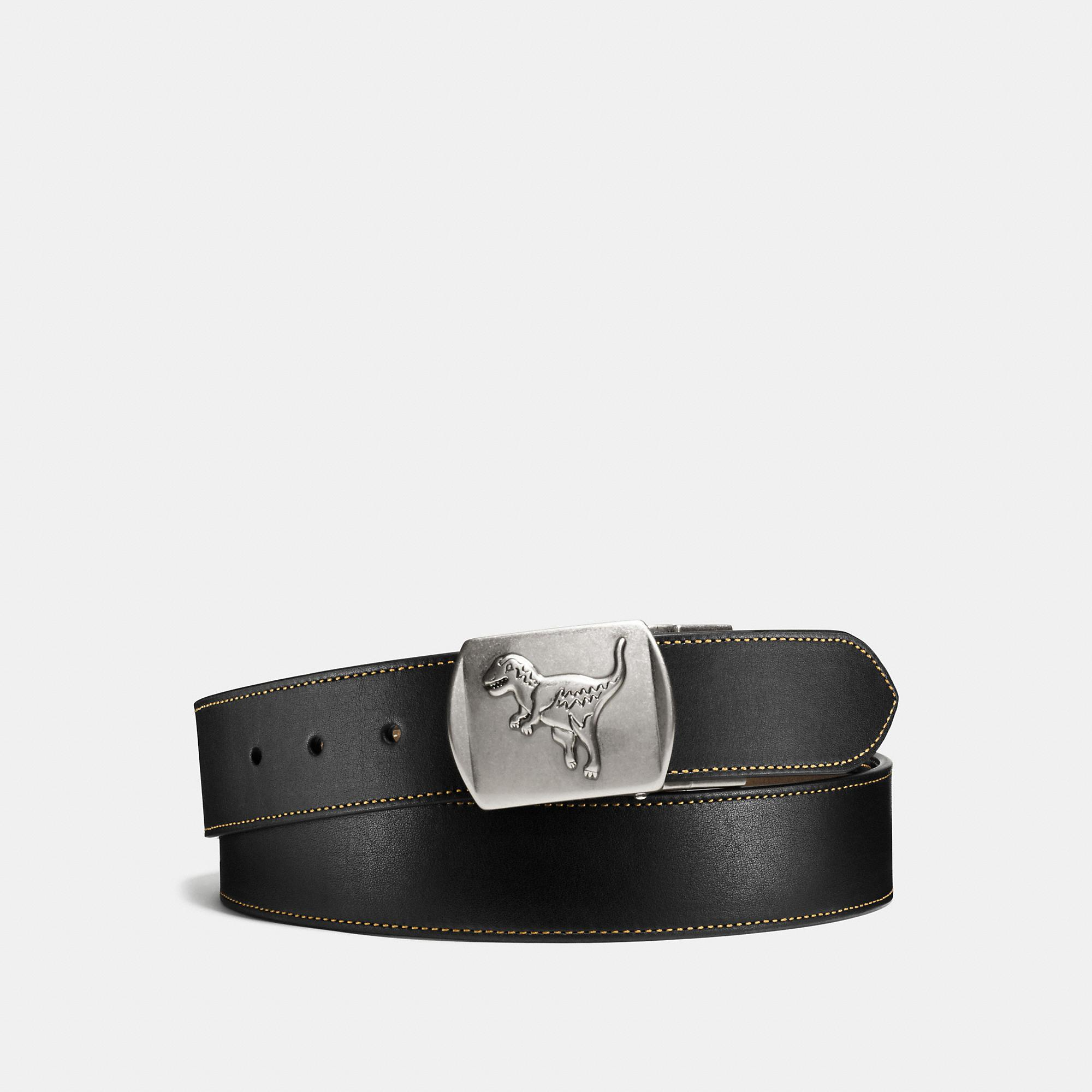 Coach Rexy Plaque Cut-to-size Reversible Leather Belt In Black/fatigue
