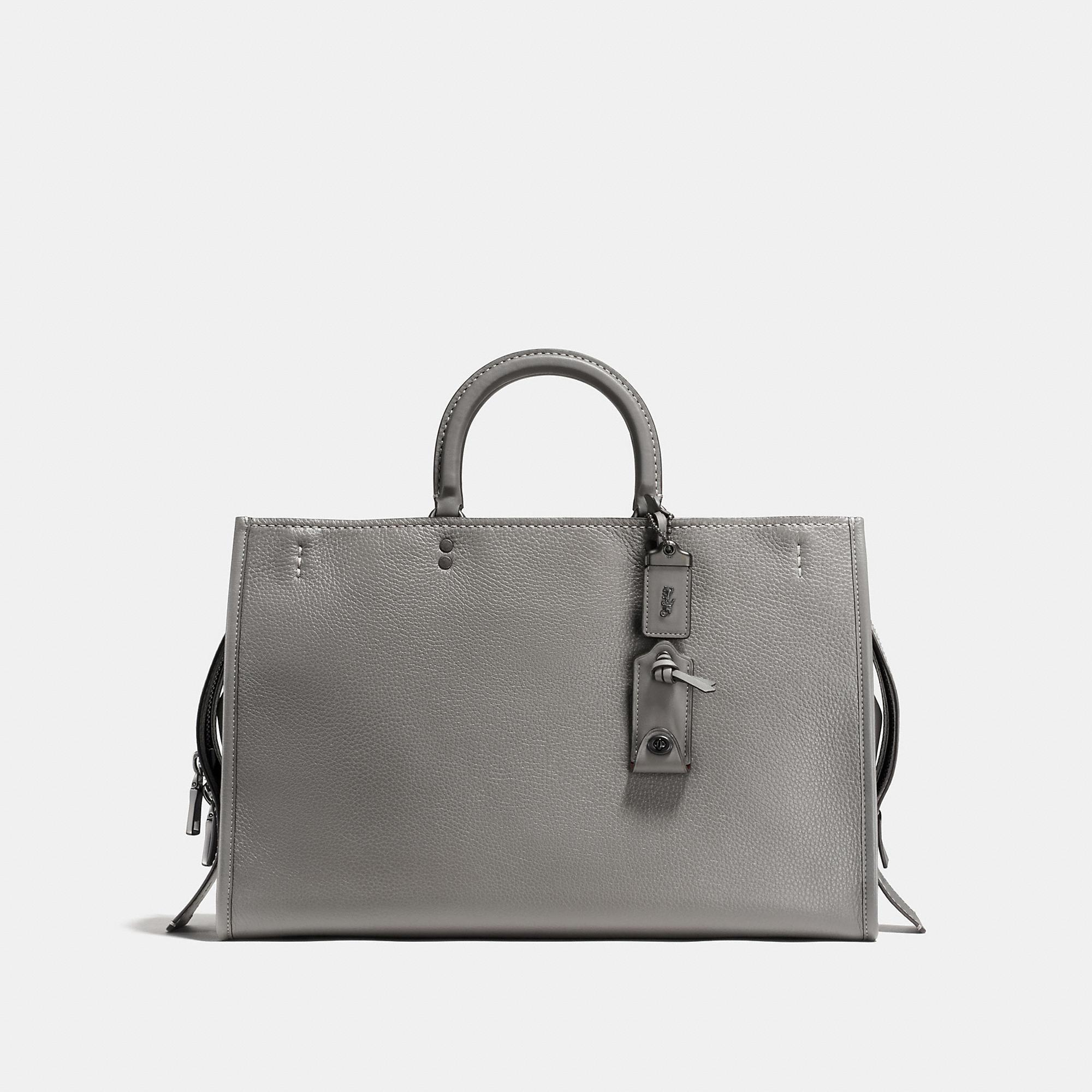 Coach Rogue 39 In Glovetanned Pebble Leather In Heather Grey/black Copper