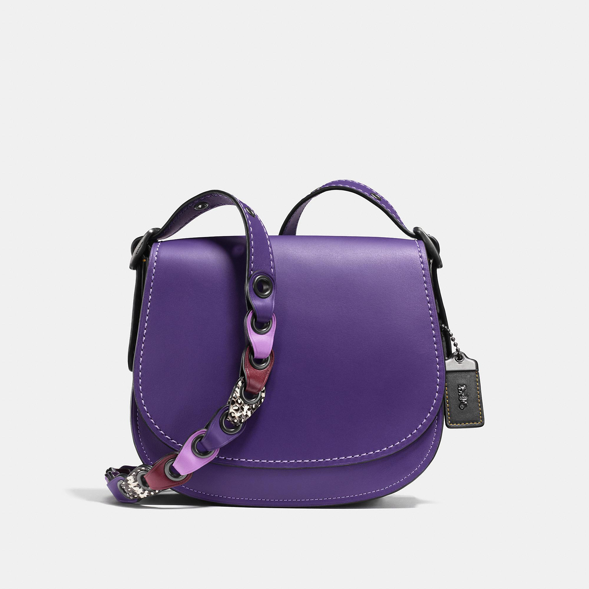 Coach Saddle 23 With Snakeskin Link Strap - Women's In Black Copper/violet Multi