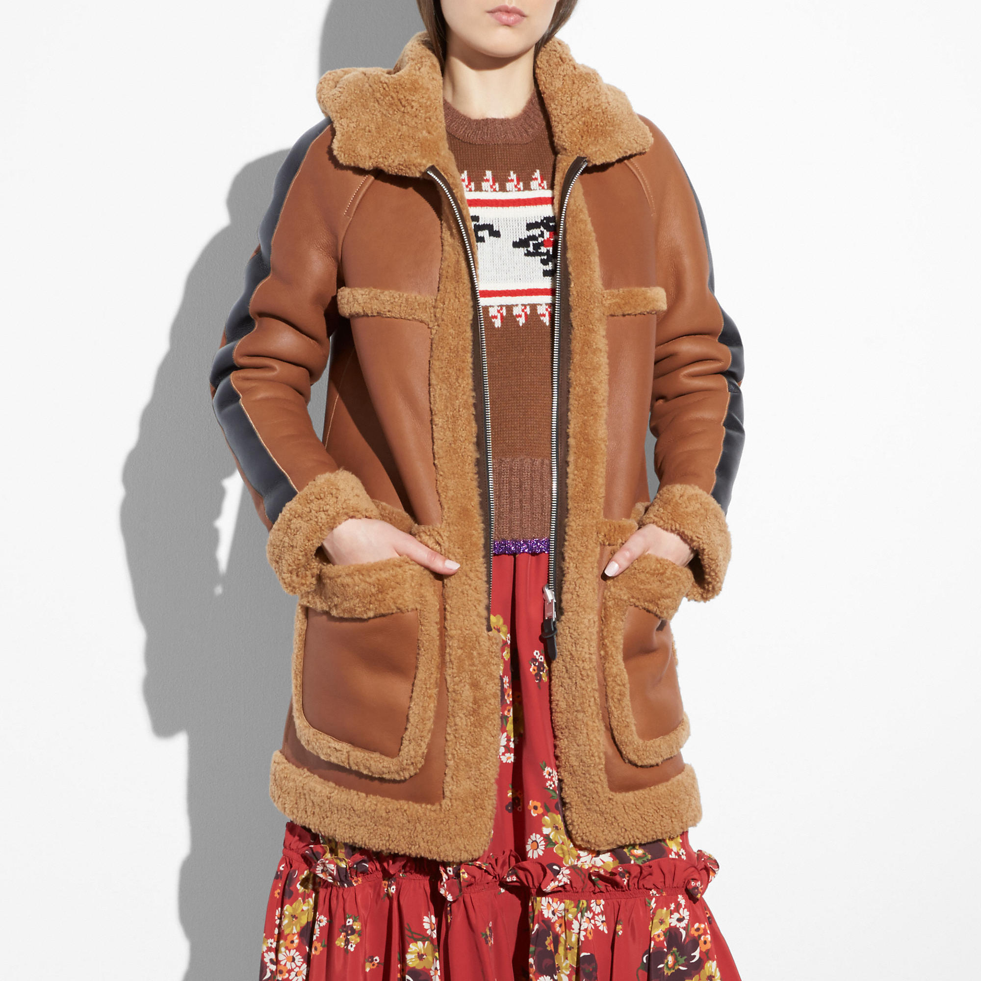 Coach Reversible Shearling Parka In Toffee