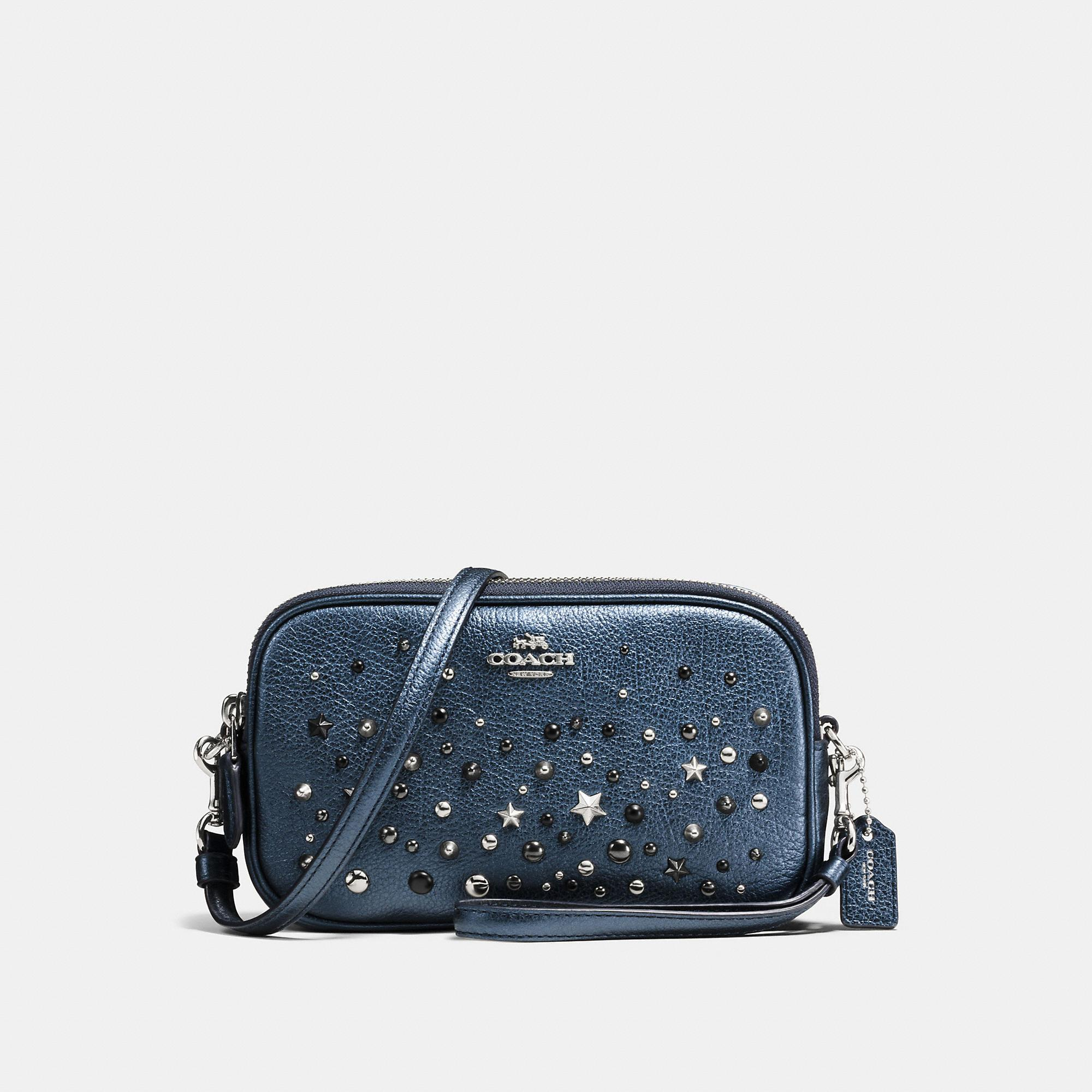 Coach Crossbody Clutch With Star Rivets In Metallic Blue/silver