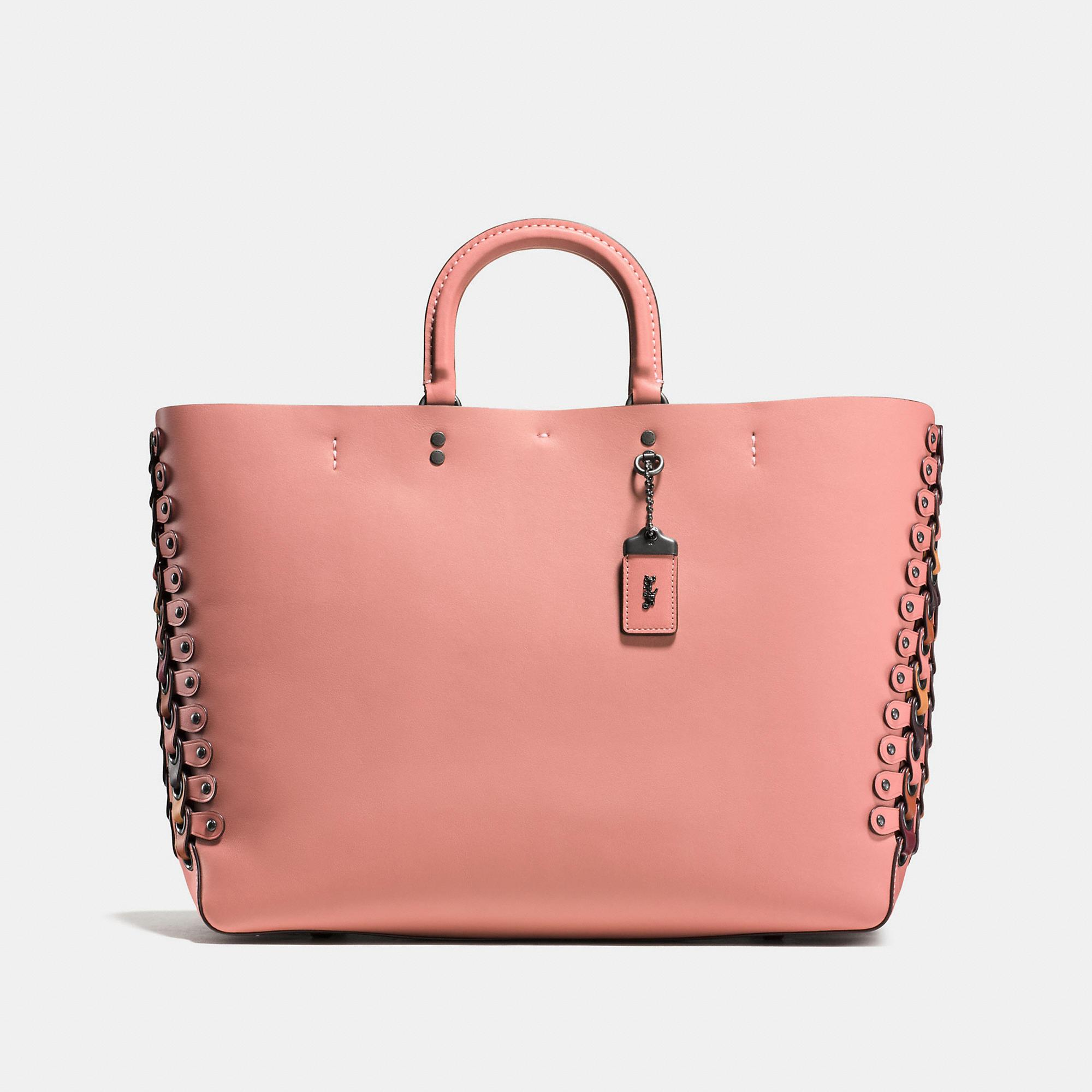 Coach Rogue Tote With Colorblock Link Detail In Black Copper/melon Multi